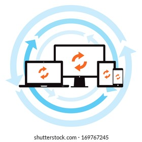 This image is a vector file representing a cloud data backup sync concept. / Cloud Data Backup Sync / Cloud Data Backup Sync