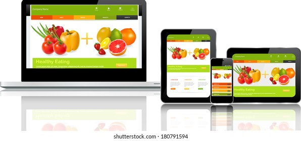 This image is a vector file representing a responsive design concept on various media devices./Responsive Design Concept/Responsive Design Concept
