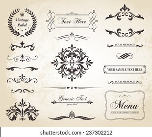 This image is a vector file representing a set of  Vintage Decorative Ornament Borders and Page Dividers./Vintage Vector Ornament Borders and Dividers/Vintage Vector Decorative Borders and Dividers