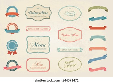 This image is a vector file representing a Premium Vintage Labels Vector Design Elements Collection Set. / Vintage Labels Vector Design Elements Collection Set /Vintage Labels Vector Collection Set