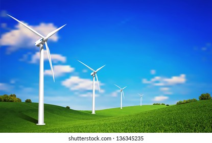 This image is a vector file represents a Wind Turbine landscape illustration. / Wind Turbine landscape / Wind Turbine landscape