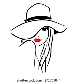 This image is a vector illustration of a long hair girl wearing a big floppy hat.