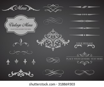 This image is a vector set that contains calligraphic elements, borders, page dividers, page decoration and ornaments./Vintage Vector Label Page Dividers and Borders/ Vector Label Dividers Borders