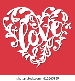 This image is a vintage paper cut style love swirl flourish heart. The heart lace is composed of love phrase, swirls and flourishes. The heart is white in color set against a red background.