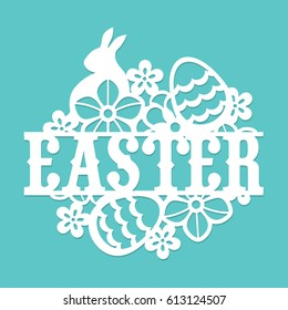 This image is a vintage paper cut easter floral egg rabbit title. The lace is composed of easter phrase, easter eggs, flowers and easter rabbit.