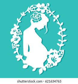 This image is a vintage paper cut style of a mother in floral oval frame.