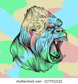 This isolated illustration features an angry gorilla in a cool line art style. The background is made from different colorful patches