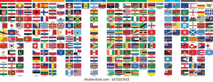 This is a list of flags of the world. Made in official colors whenever possible.