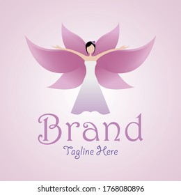 This logo contains an image of a woman in a dress and expresses the blossoming of flowers so it looks like beautiful and graceful wings.