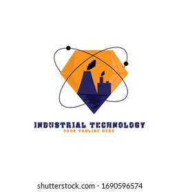 This logo depicts gems where there are industrial factories in them, where they are surrounded by atomic symbols. This logo is good for use by companies engaged in indutrial technology.