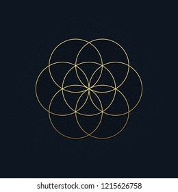 This is a luxurious black fabric background with a golden Flower of Life. Vector illustration.