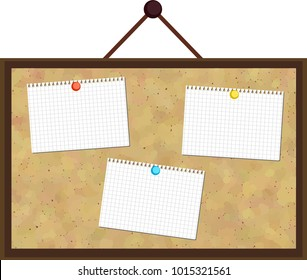 This is a Notes pasted Cork board 1.This is a vector illustration.
