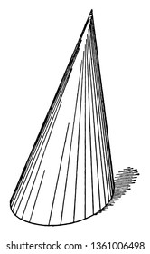 This is an Oblique Cone image. The lower part of the oblique cone is wide and the upper part is raised, vintage line drawing or engraving illustration.