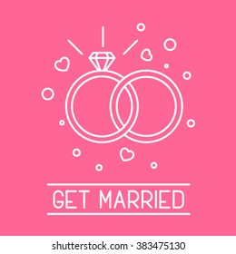 This is perfect thin linear illustration of get married topic. The best collection for your needs. Useful for web, apps, button, invitation, postcard and other. Wedding rings with brilliant and heart.
