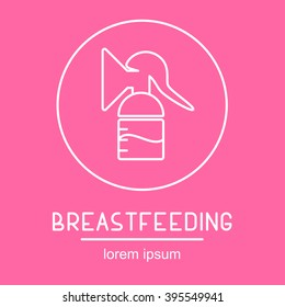 This is perfect thin linear illustration of breastfeeding topic. The best icon or logotype for web, apps, button, invitation, postcard and other. A breast pump extracts milk from the breasts