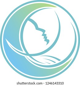 This is a picture of someone who is sleeping rilek like on a moon. This logo is very suitable for spa and beauty companies, yoga, meditation.