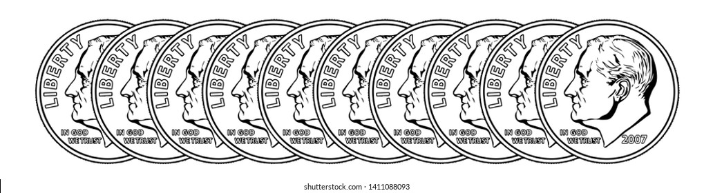 In this picture, there are ten Dimes coins. The total cost of one United States Dollar. Is a hundred cents, vintage line drawing or engraving illustration.