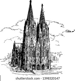 In this picture we see the Germanys most beautiful cathedral Cologne vintage line drawing or engraving illustration.