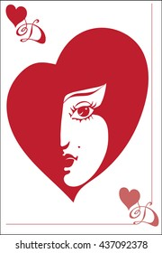 This playing card with a picture of the Queen of heart