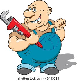 This is a plumber with his wrench ready to go to work.  The image is in four separate layers for easy editing.