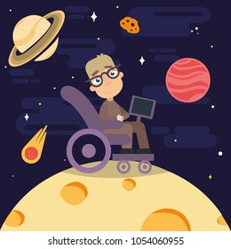 this postcard is dedicated to the great scientist Stephen Hawking  who taught never to give up