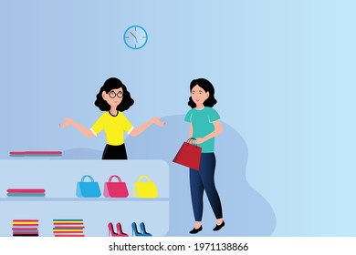 This is the representation of a store keeper girl who is selling bags to her customer. This representation will be suitable for store related designs