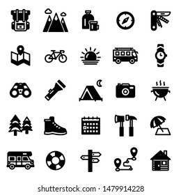 This is a set of camping icons.
