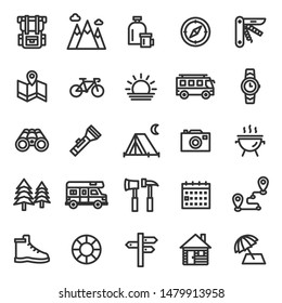 This is a set of camping icons.Editable stroke. 48×48 Pixel Perfect. (Recommendations - Full Size 300 x 300 / Stroke 2px)