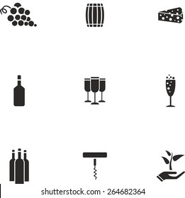 This is set of flat design icons of wine topic. There are 9 flat icons, including grape, barrel, cheese, brandy bottle, glass, glass with champagne, wine bottle, corkscrew and eco symbol