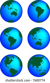 This is a set of globes showing our planet revolving in different stages.