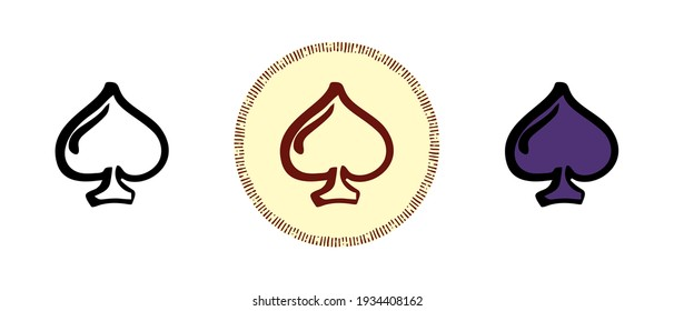 This is a set of icons with different styles of the spades card suit. Outline, colors and retro symbols of the ace of spades. Freehand drawing, doodles. Stylish solution for website and label.