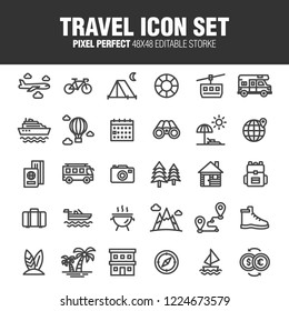This is a set of icons related to travel. Editable stroke. 48×48 Pixel Perfect.