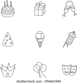 This is set of isometric linear design icons of birthday. There are 9 icons including cake, ice-cream, crown, gift box,glass with champagne,party hat, mask,balloon,firework