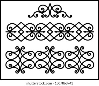 This is set of a metal forged elements with vintage ornaments. Art forging belongs to the category of manual work. set of ornamental curl borders on white background. Collection of forging. BALCONY.