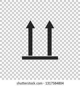 This side up icon isolated on transparent background. Two arrows indicating top side of packaging. Cargo handled so these arrows always point up. Flat design. Vector Illustration