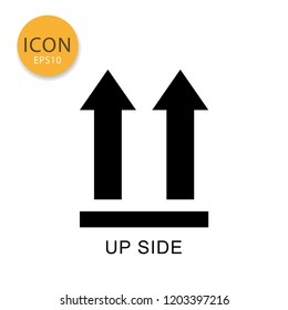 This side up packaging symbol icon flat style in black color vector illustration on white background.