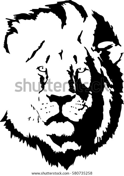 6fa1d6f87 This Simple Tattoo Lion Head Stock Vector (Royalty Free) 580735258