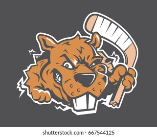 This sneaky beaver chomps on a hockey stick.