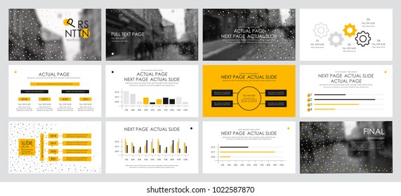 This template is the best as a business presentation, used in marketing and advertising, flyer and banner, the annual report. Yellow and black elements on a dark grey background