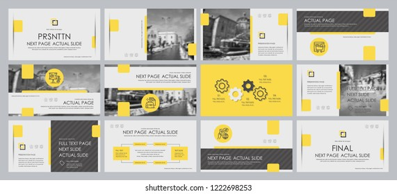 This template is the best as a business presentation, used in marketing and advertising, flyer and banner, the annual report. Grey, yellow and black elements on a dark grey background