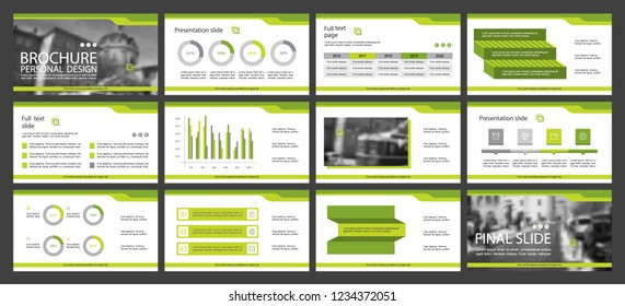 This template is the best as a business presentation, used in marketing and advertising, flyer and banner, the annual report. Grey, green and black elements on a dark grey background