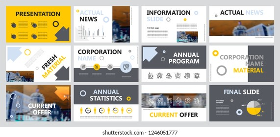 This template is the best as a business presentation, used in marketing and advertising, flyer and banner, the annual report. Grey, yellow, blue and black elements on a dark grey background