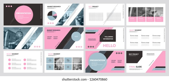 This template is the best as a business presentation, used in marketing and advertising, flyer and banner, the annual report. Grey, pink and black elements on a dark grey background