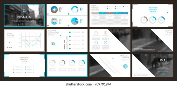 This template is the best as a business presentation, used in marketing and advertising, flyer and banner, the annual report. Brown, blue and black elements on a dark grey background