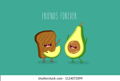 This is toast with avocado. You can use for cards, fridge magnets, stickers, posters, menu.