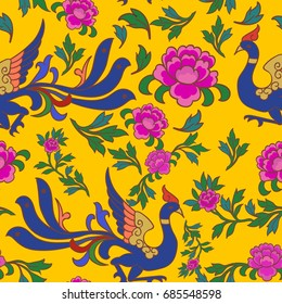 This is a traditionally chinese phoenix pattern with purple flowers and green leafs.
