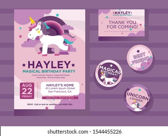 This unicorn invitation design template is suitable for girls and teens. This design include thanks card, and 3 additional sticker. Name and information should be updated.
