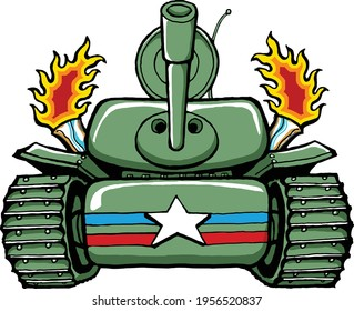 This US tank crushes any logs in it's way.  This clip art features Grumpy Old Man's Hank the Tank illustration crushing a log.