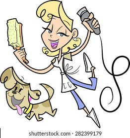 This is a vector cartoon character woman who is grooming a happy puppy dog.