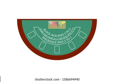 This is a vector flat design of blackjack table.